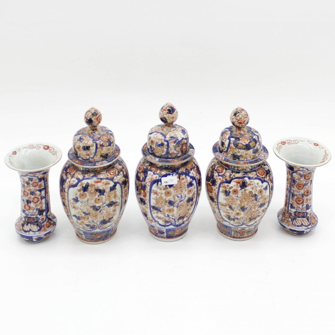 18th Century Japanese 5 Piece Garniture of Vases