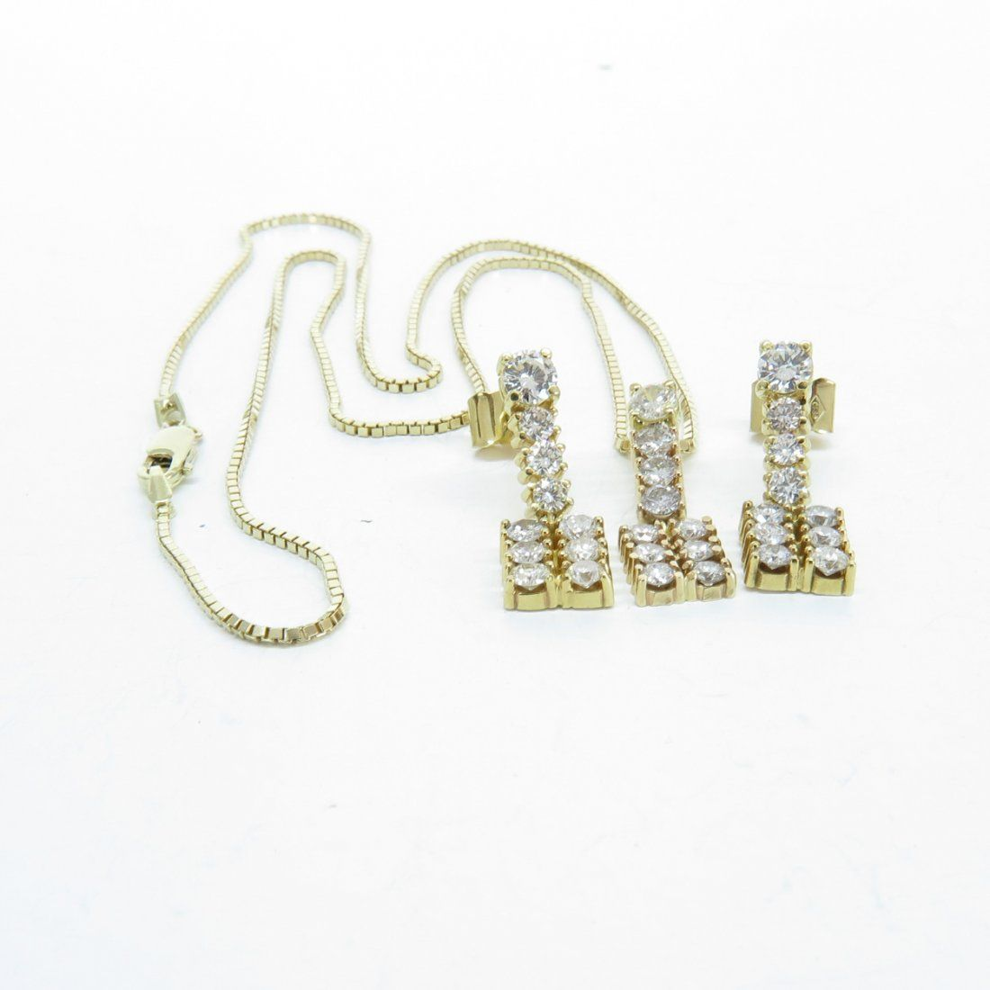 14KG Diamond Necklace and Earrings 2 Carat Total Weight