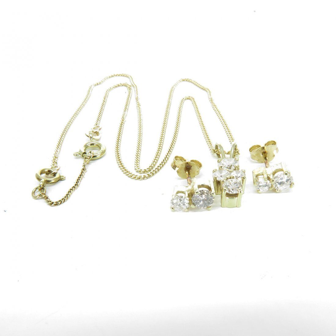 14KG Diamond Necklace and Earrings 1.7 CTW