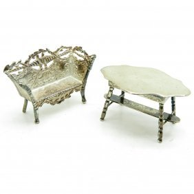 Dutch Silver Miniature Sofa And Table