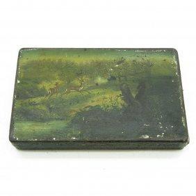 19th Century Painted Metal Tobacco Box