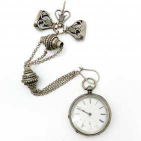 Silver Pocket Watch With Chatelain, Fobs, And Key