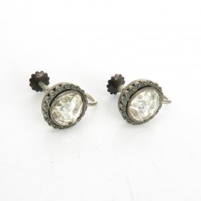Rose Cut Diamond Solitaire Earrings Approximately 4 Ctw