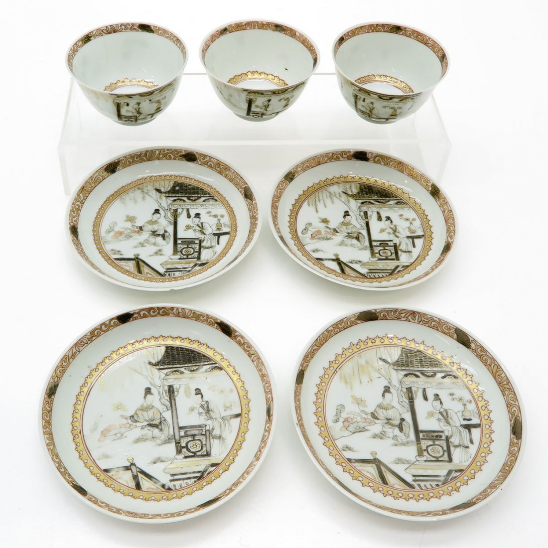 18th Century Encre de Chine Cups and Saucers