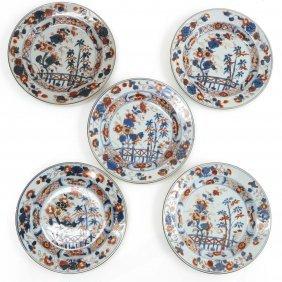 Lot Of 5 18th Century Chinese Imari Plates