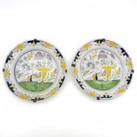 18th Century Delft Polychrome Plates