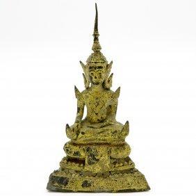 Bronze And Gold Gilt Thai Buddha