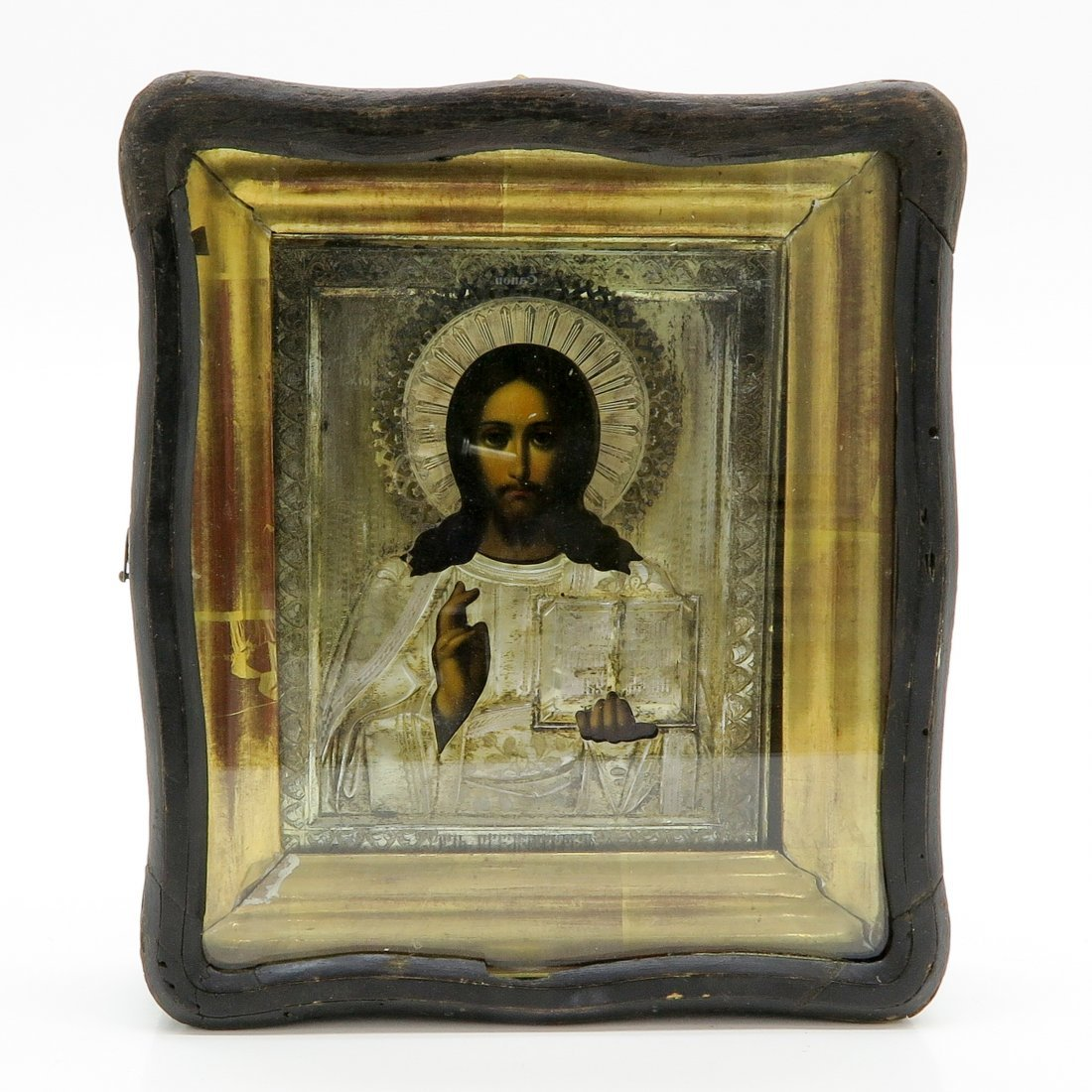 A Fine 19th Century Russian Icon in Silver Mounting