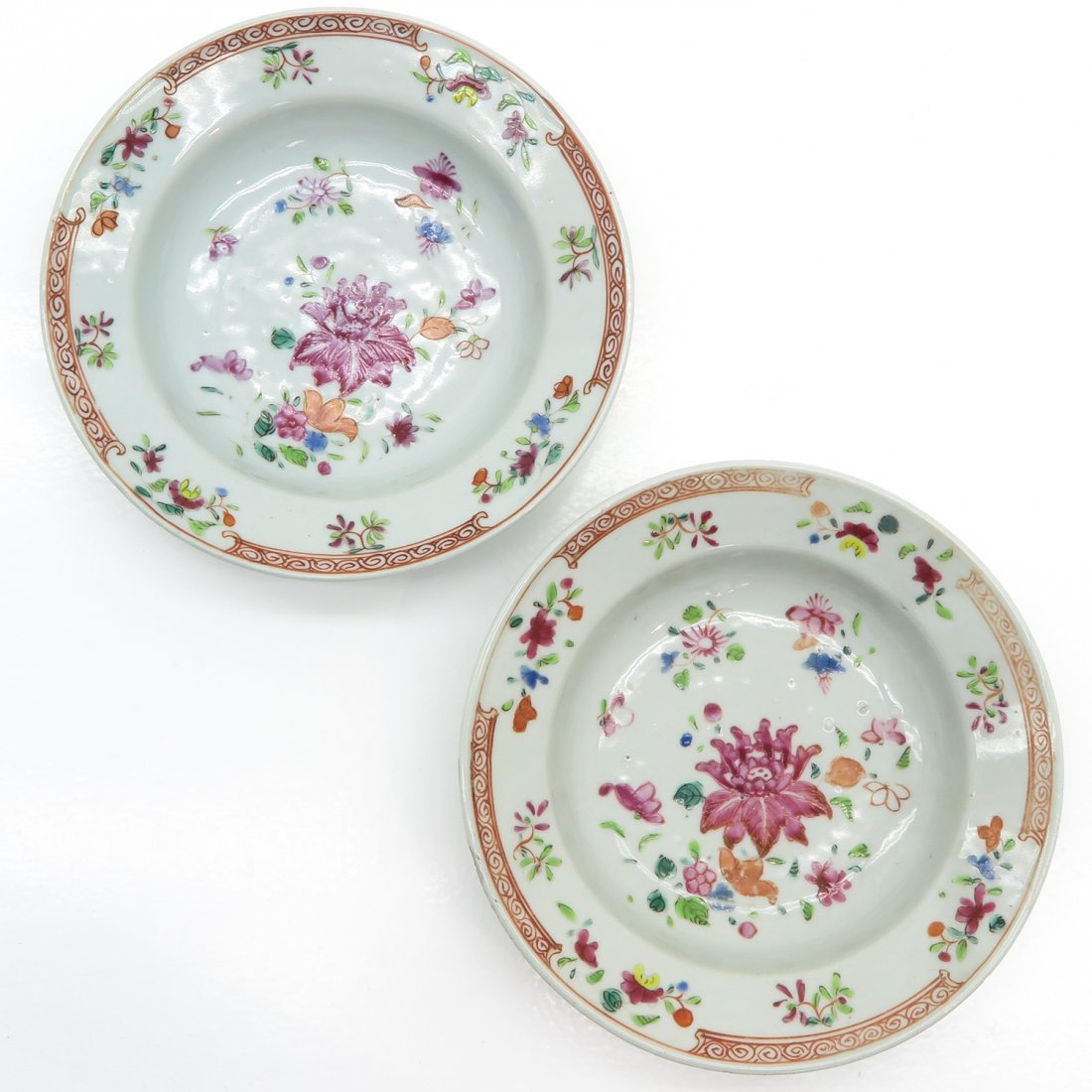 Lot of 2 China Porcelain Famille Rose Plates