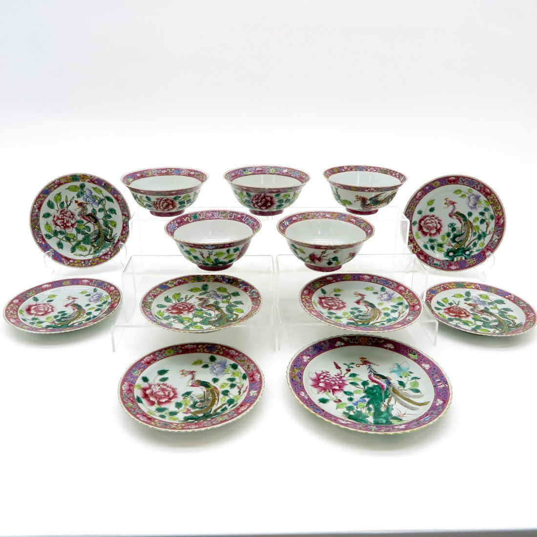 A Large Lot of 19th Cent. Famille Rose China Porcelain