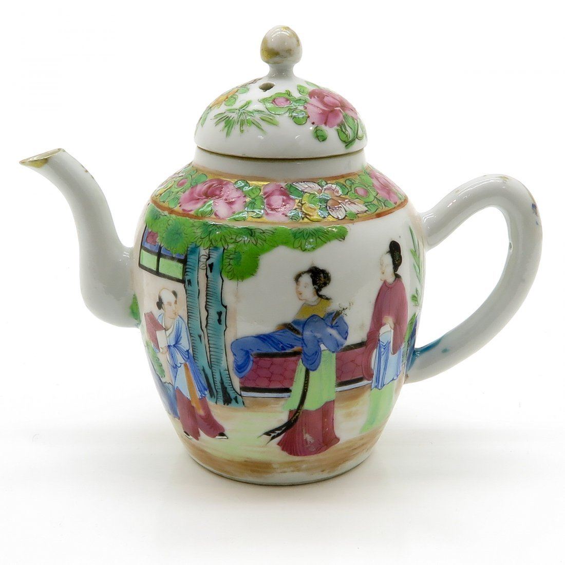China Porcelain Famille Rose Teapot Circa 1800
