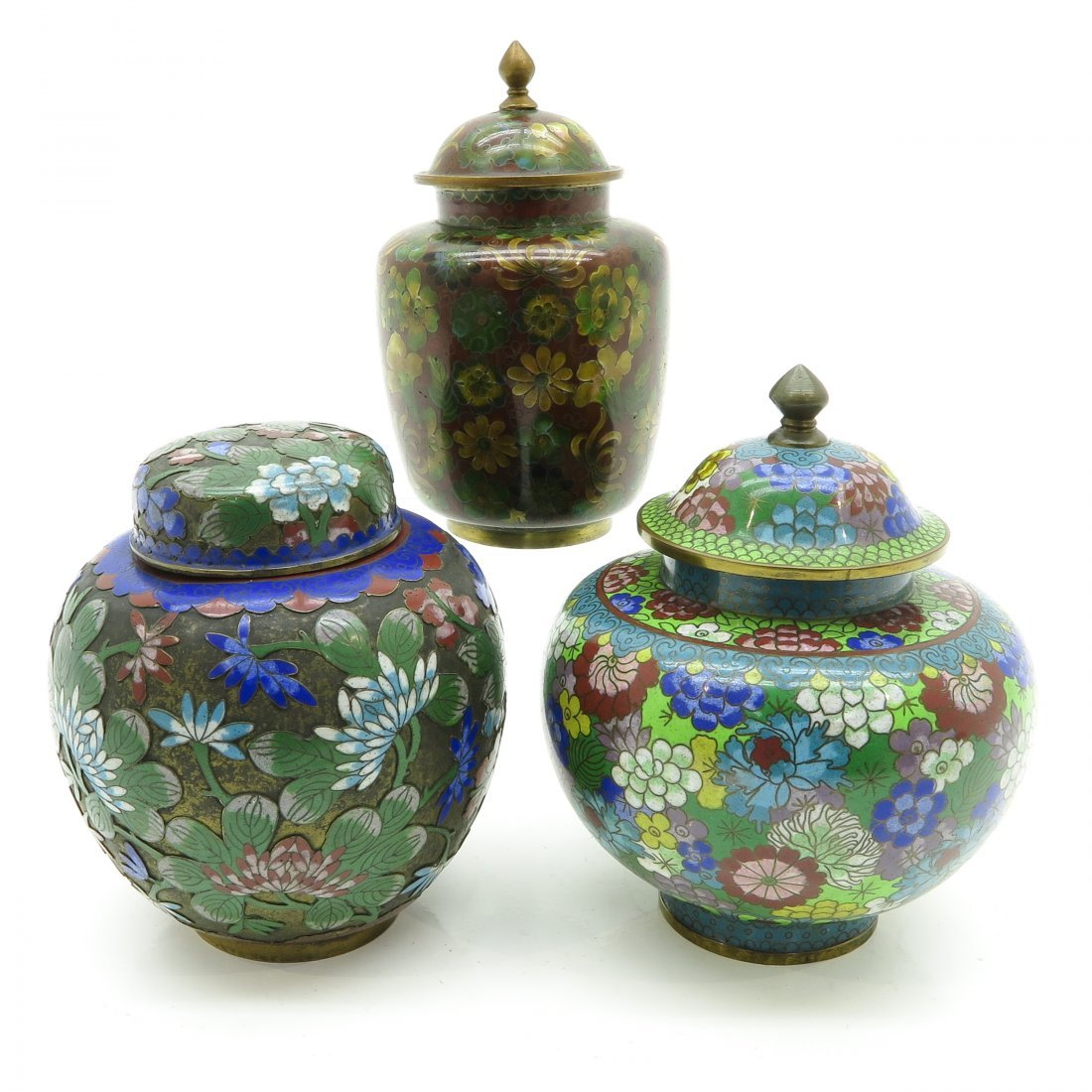 Lot of 3 Cloisonné Lidded Vases