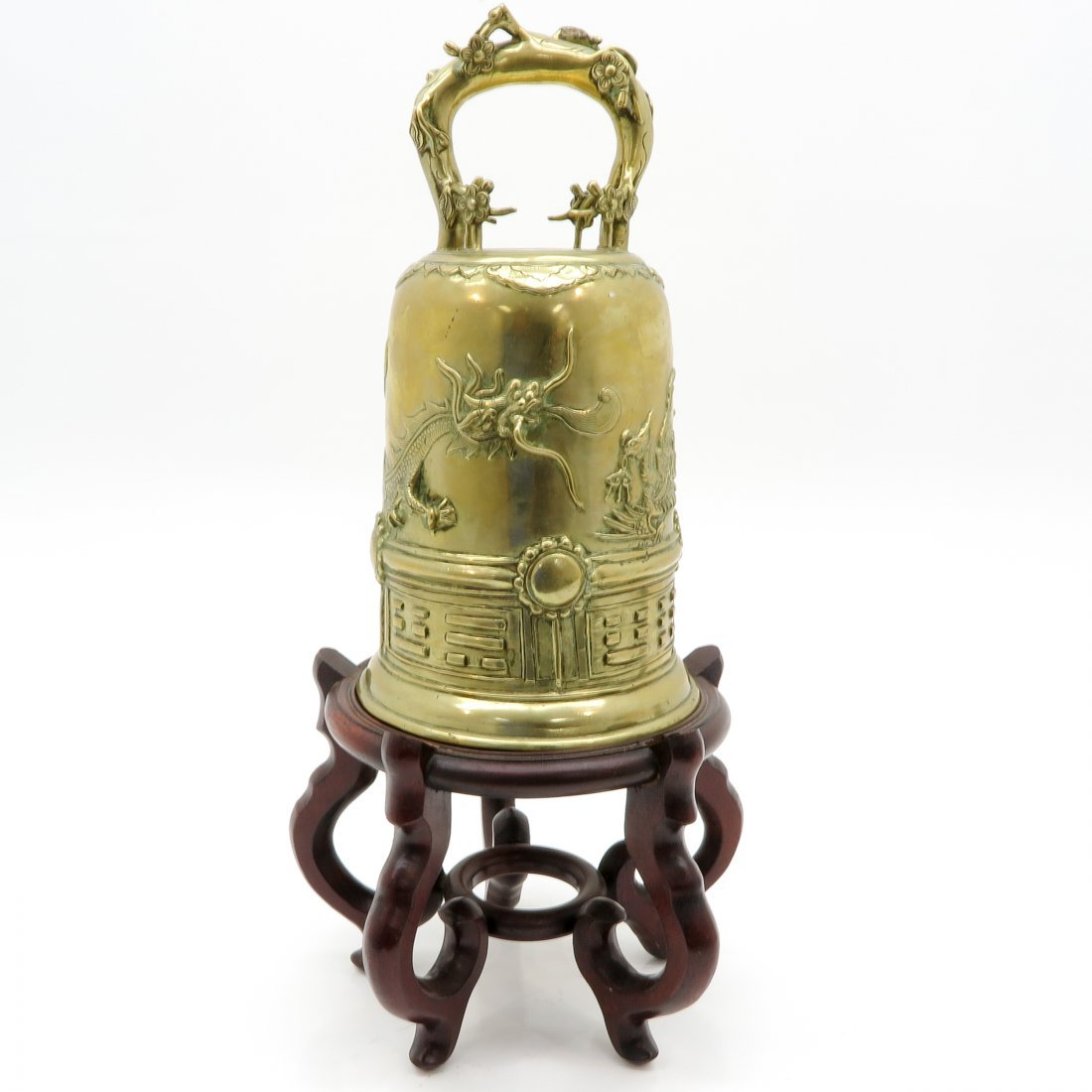 Chinese Bronze Bell on Wood Stand