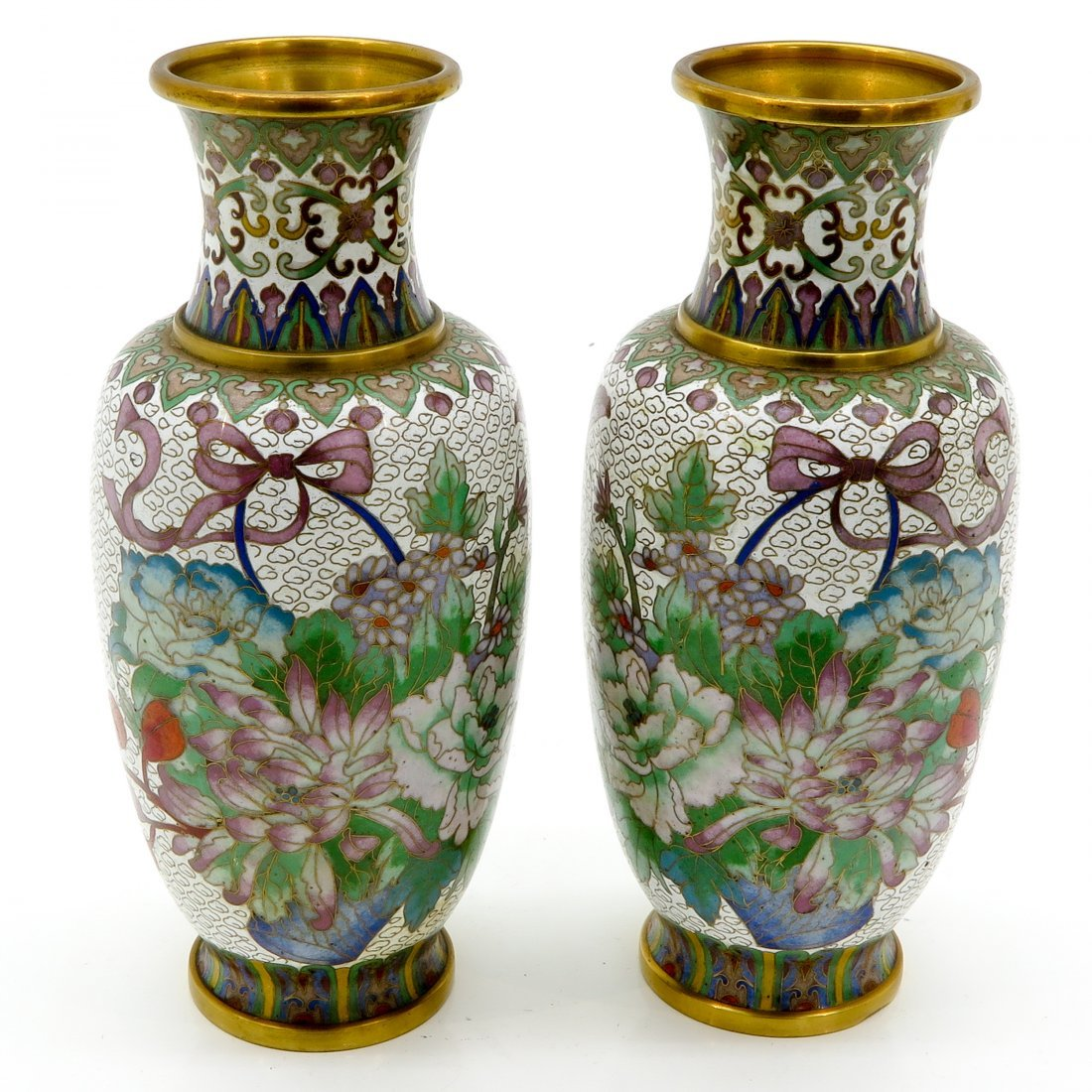 Lot of 2 Cloisonné Vases