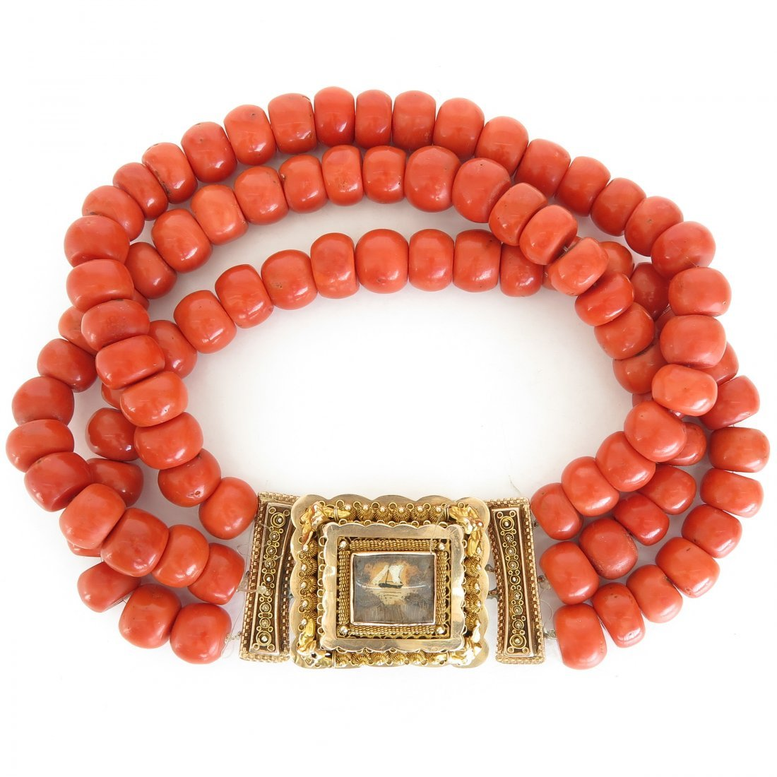 A Fine 19th Century Red Coral Necklace on 14KG Clasp