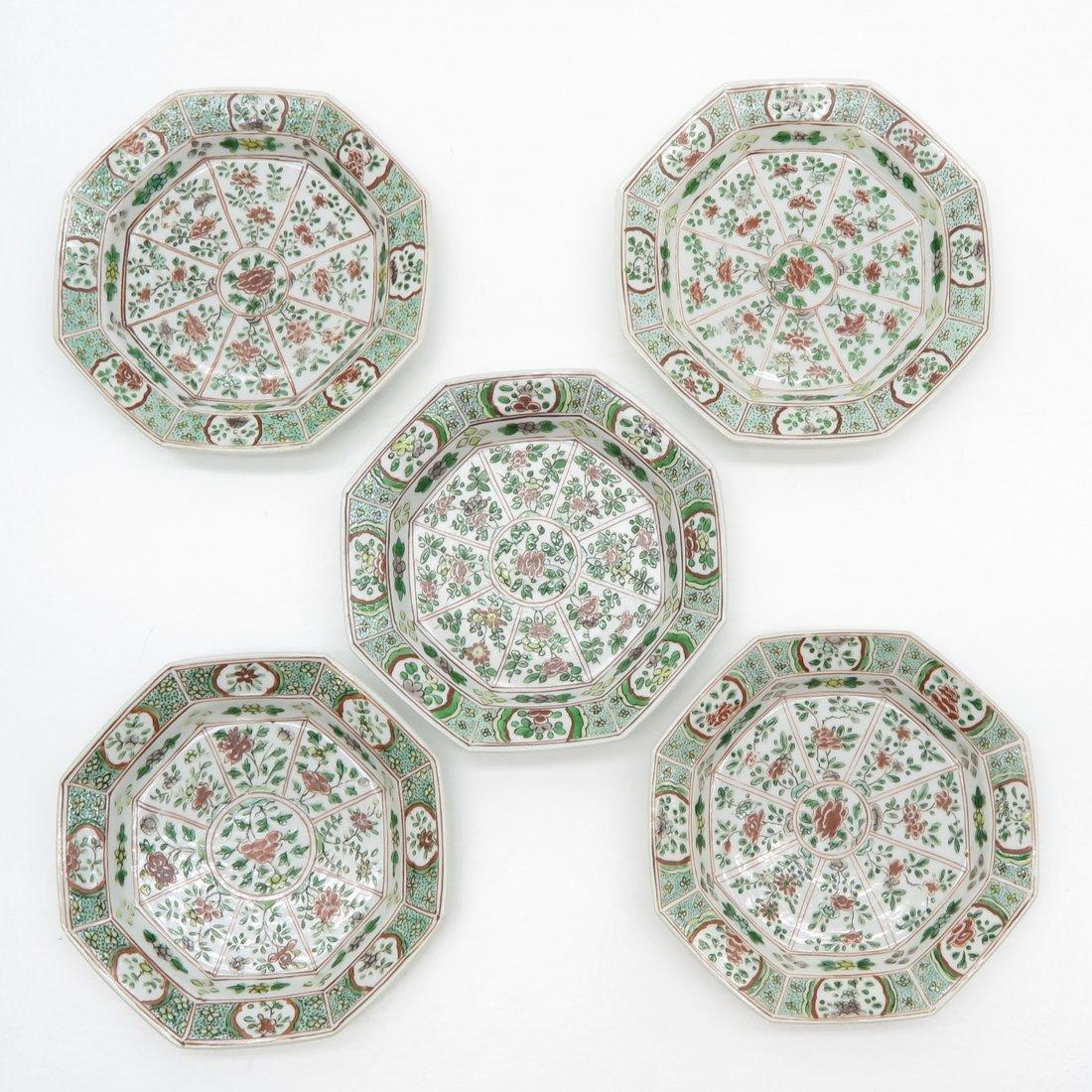 Lot of 5 Famille Verte China Porcelain Plates
