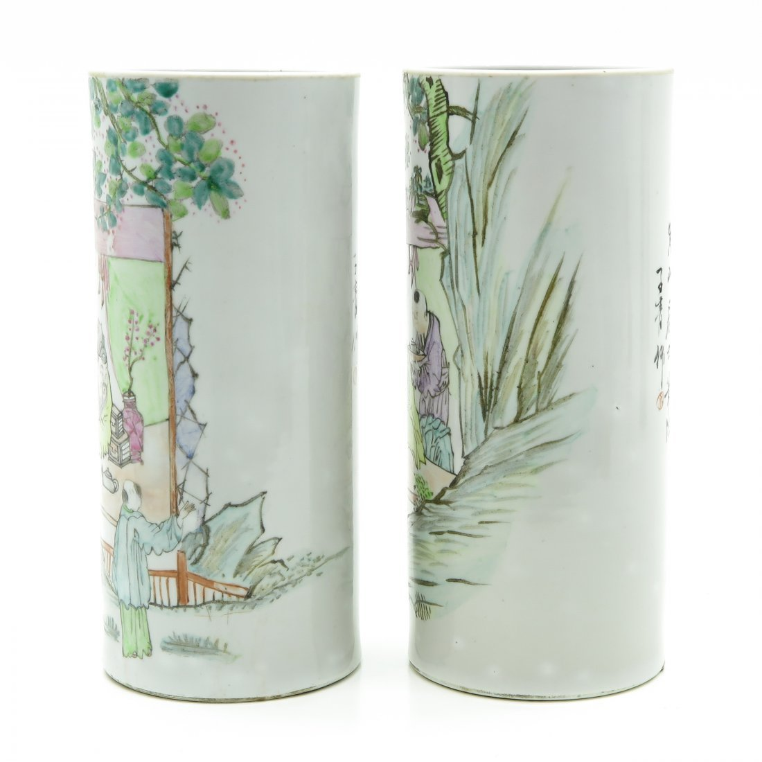 Lot of 2 China Porcelain Cylinder Roll Wagon Vases - 2