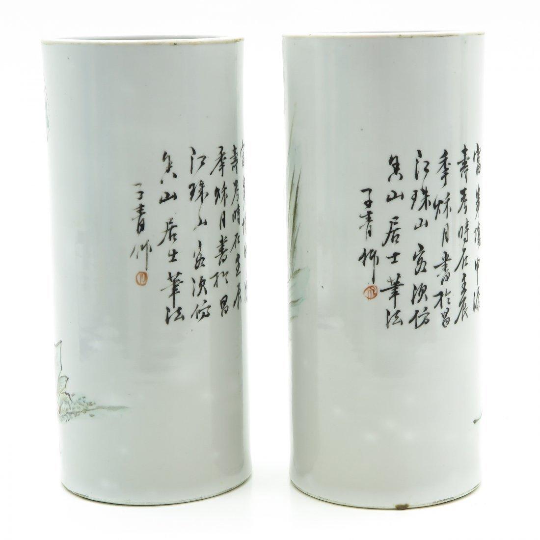 Lot of 2 China Porcelain Cylinder Roll Wagon Vases - 3