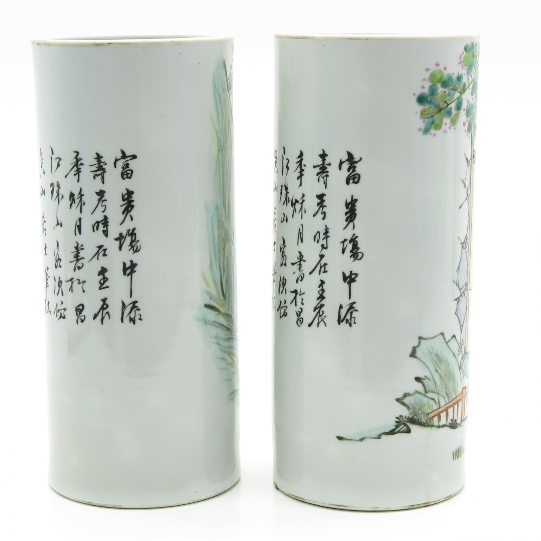 Lot of 2 China Porcelain Cylinder Roll Wagon Vases - 4