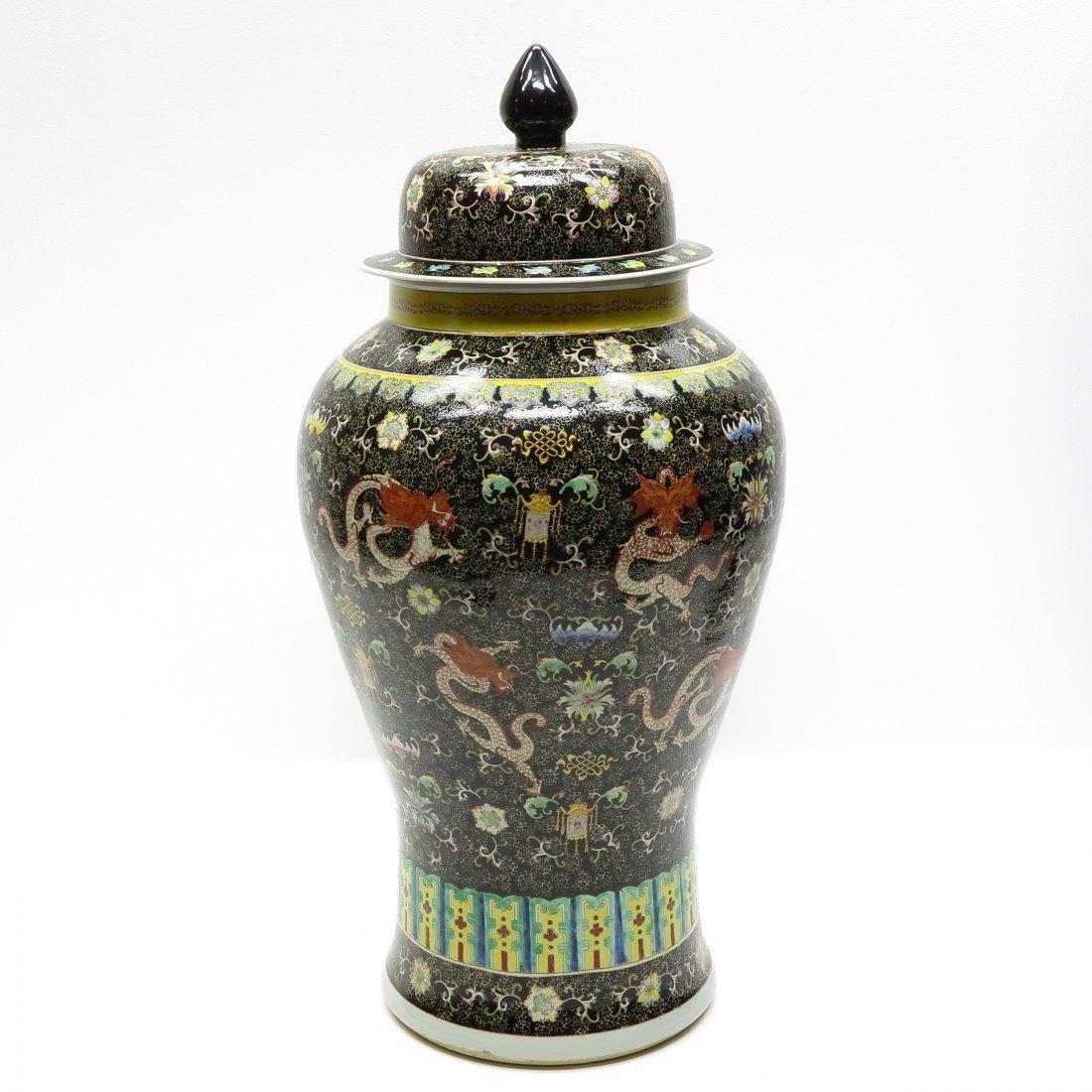 China Porcelain Famille Noir Lidded Vase - 3