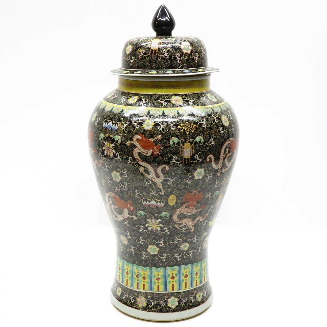 China Porcelain Famille Noir Lidded Vase - 4