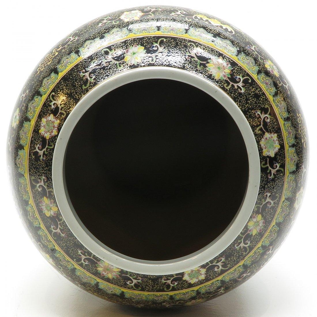 China Porcelain Famille Noir Lidded Vase - 5