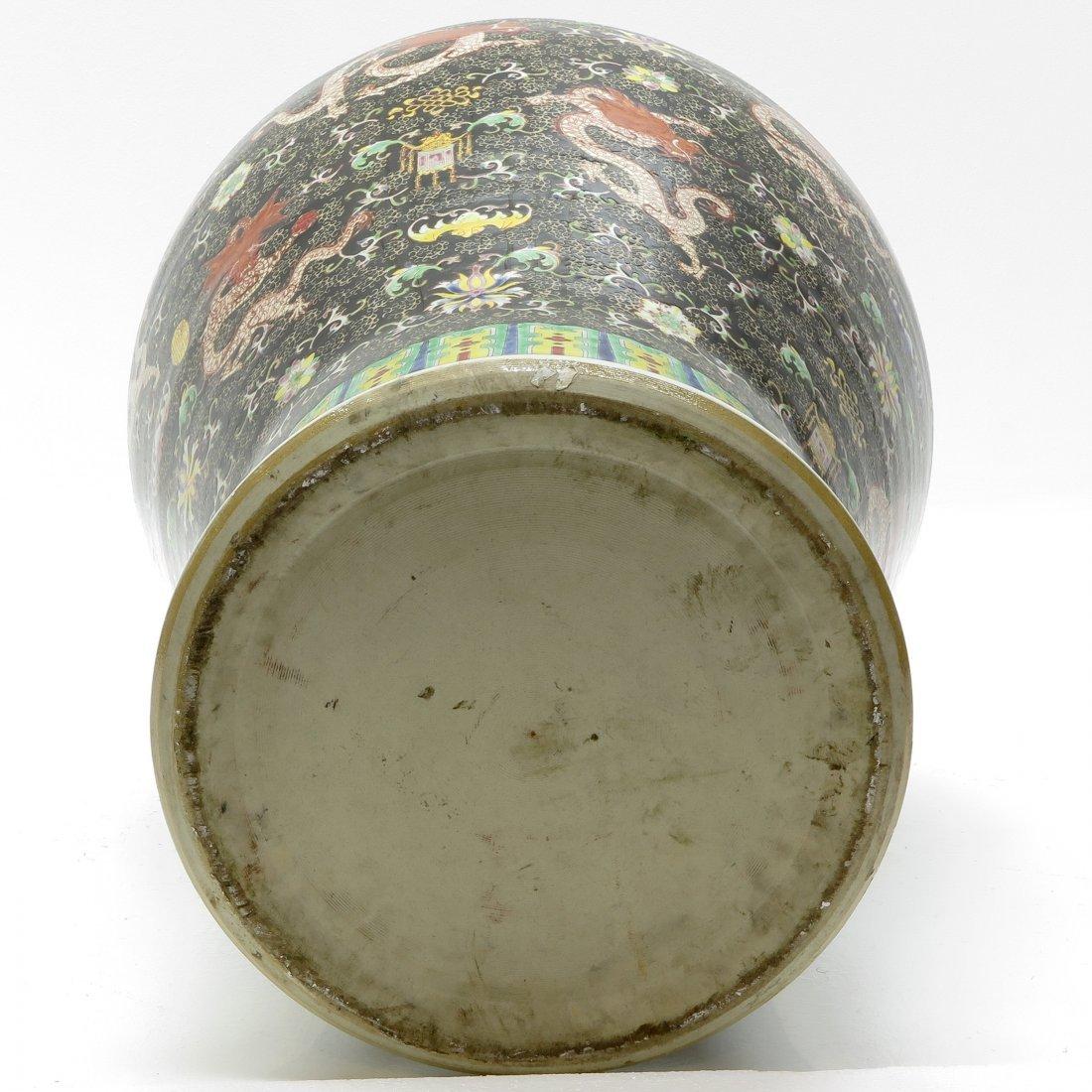 China Porcelain Famille Noir Lidded Vase - 6