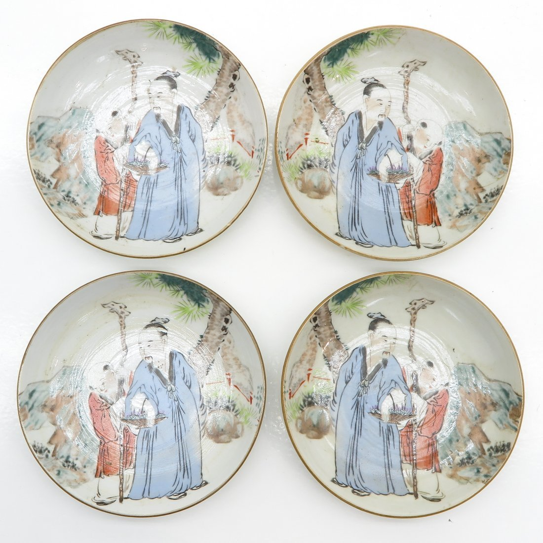 Lot of 4 Asiatic Porcelain Plates