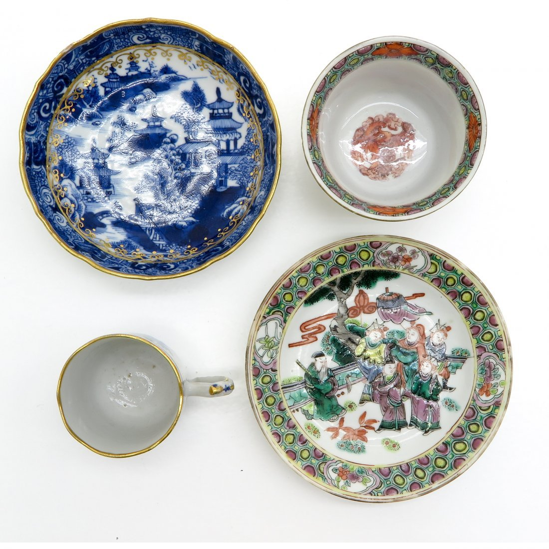 Lot of 18th Century China Porcelain Cups and Saucers - 5