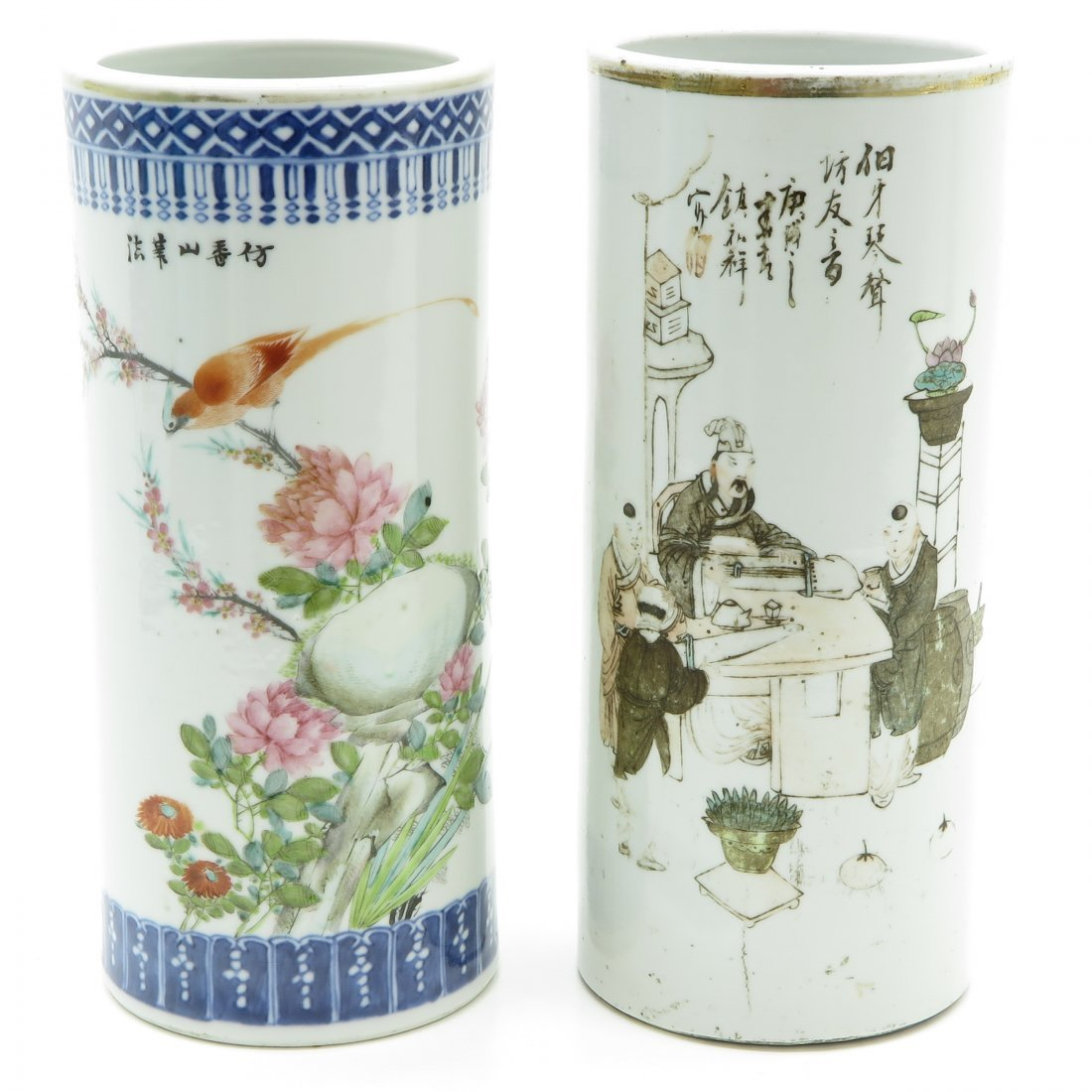 Lot of 2 China Porcelain Cylinder Roll Wagon Vases
