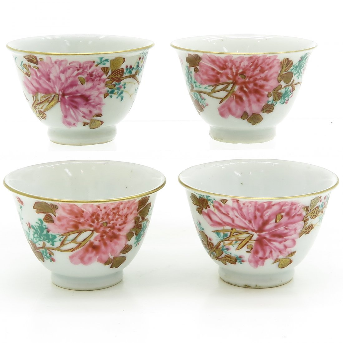 Lot of 4 Famille Rose Decor Cups