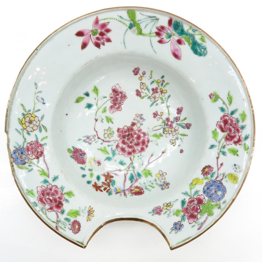 18th Century China Porcelain Famille Rose Barbers Bowl