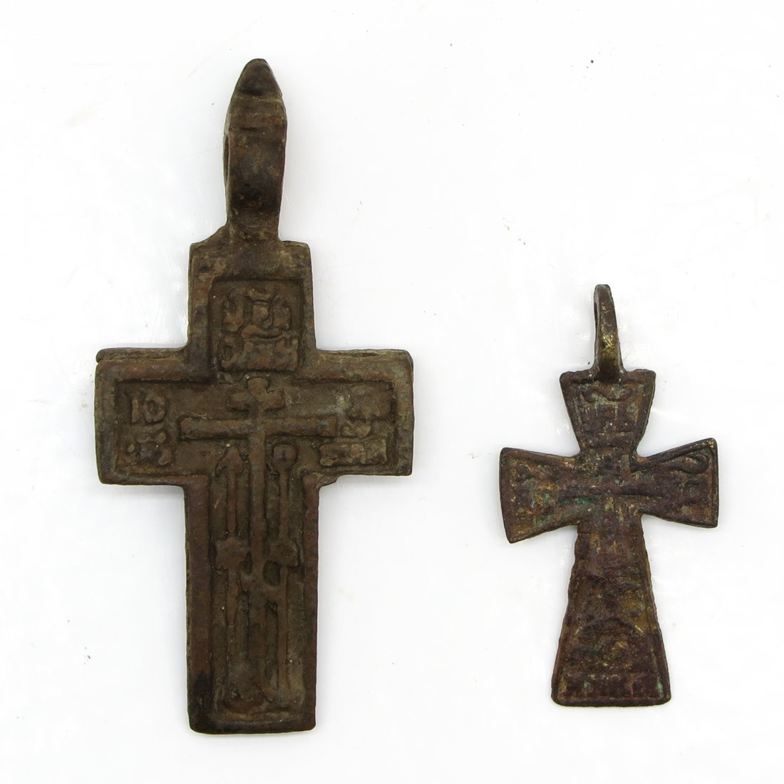 Lot of 2 Middle Ages Cross Pendants