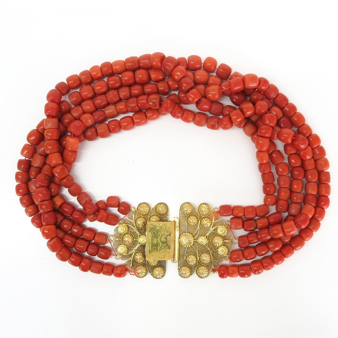 19th Century Red Coral Necklace on 18KG Clasp