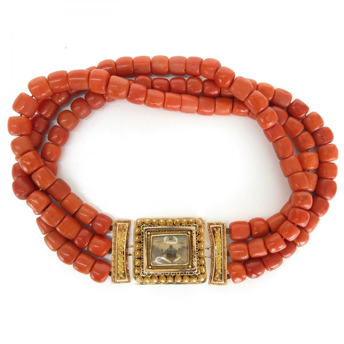 19th Century 3 Strand Red Coral Necklace