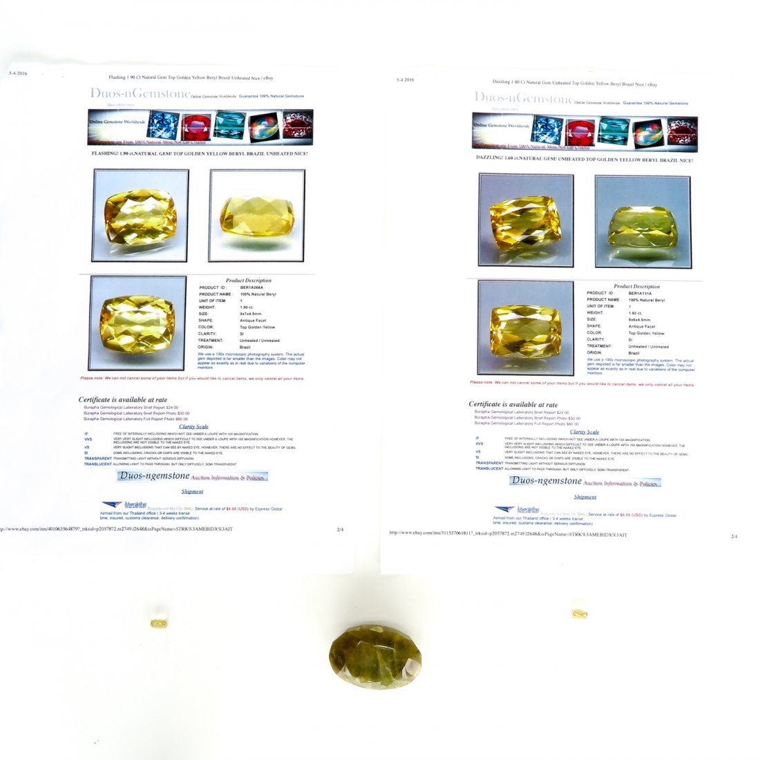 Lot of Gemstones Including 292 Ct Yellow / Brown Beryl
