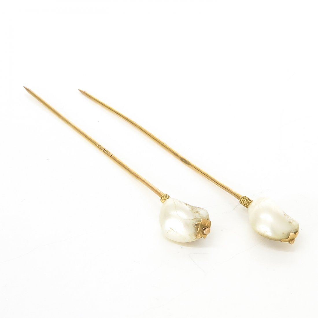 Lot of 2 14KG and Pearl Hat Pins