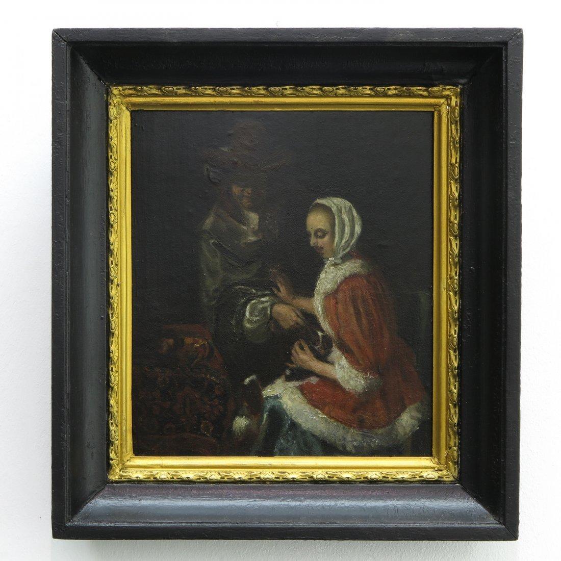 Oil on Panel Depicting Romantic Scene