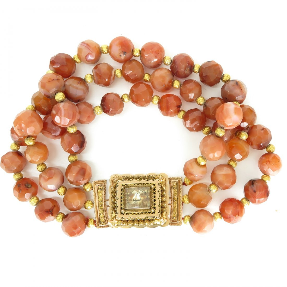 3 Strand Carnelian Necklace on 14KG Volendam Clasp