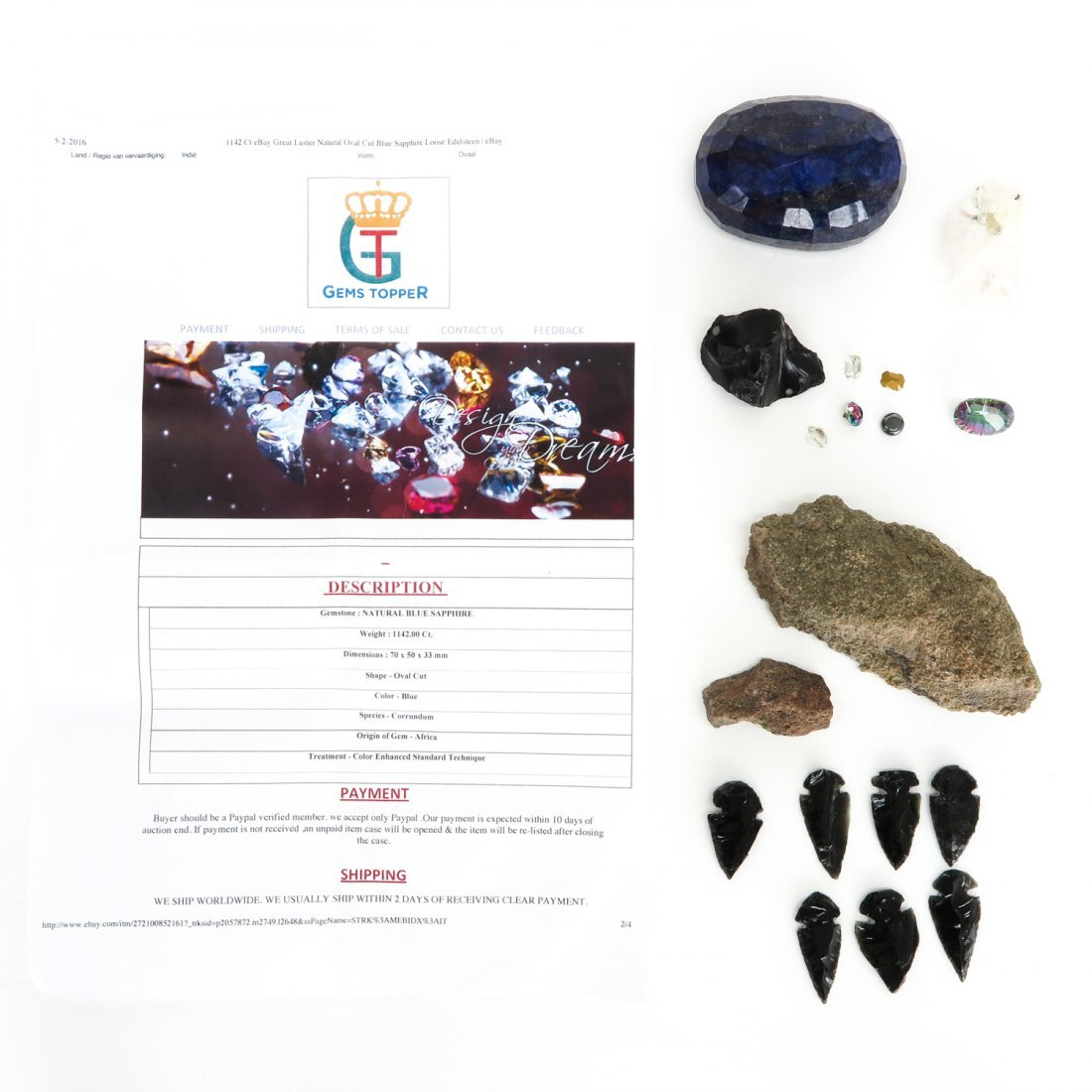 Lot of Gemstones and Natural Blue Sapphire of 1142 Ct.