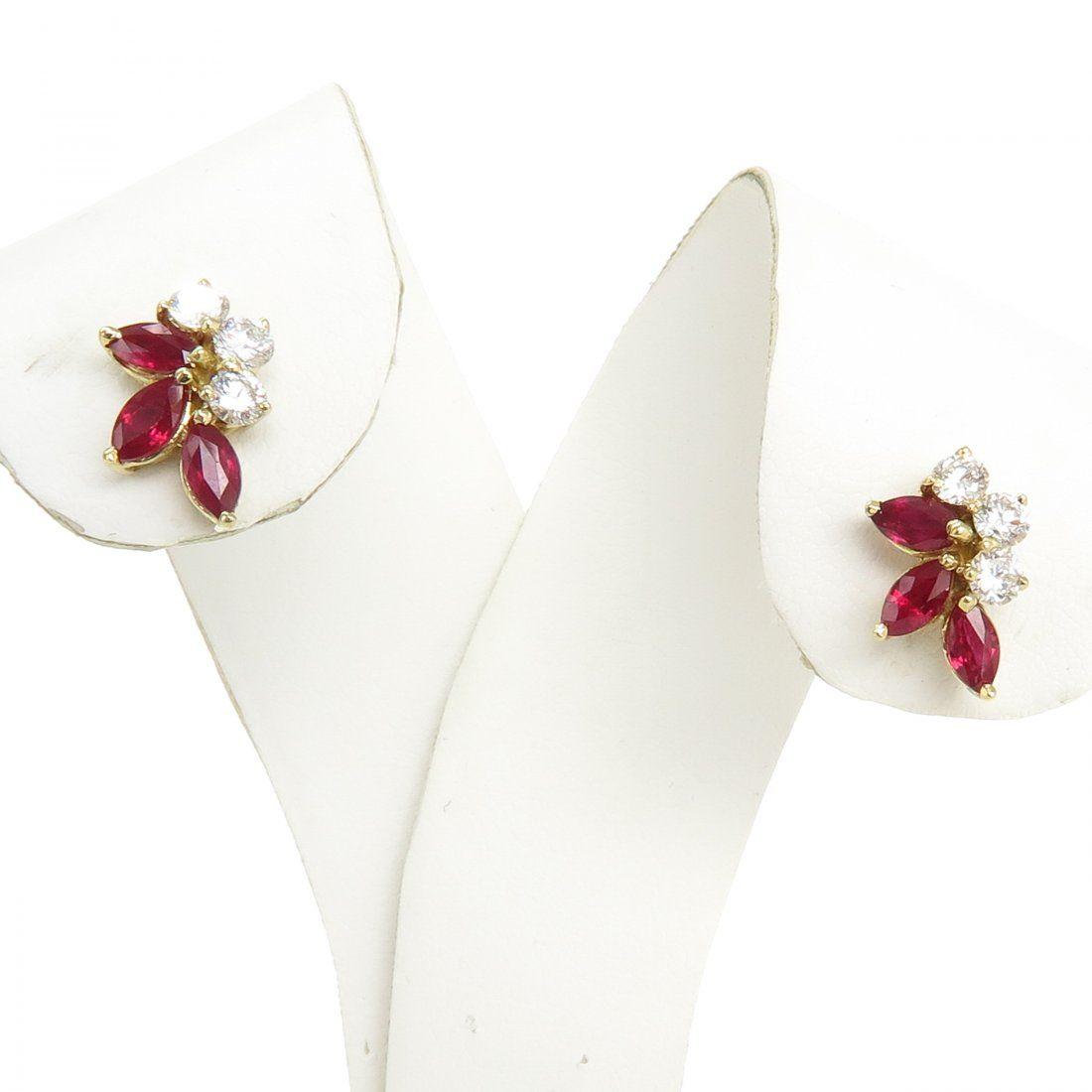 18KG Ruby and Diamond Earrings