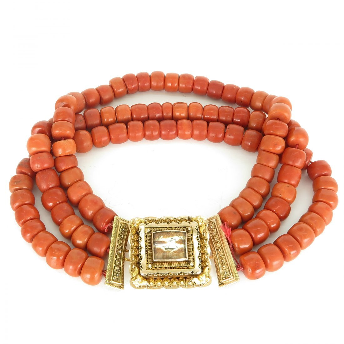 19th Century 3 Strand Red Coral Necklace on 14KG Clasp