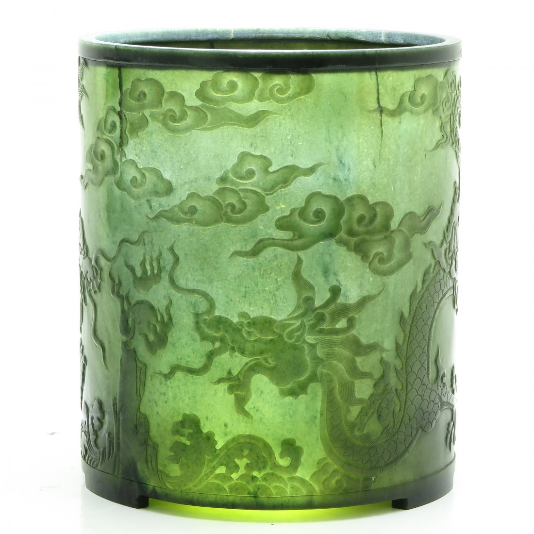 A Beautifully Detailed Carved Jade Brush Pot
