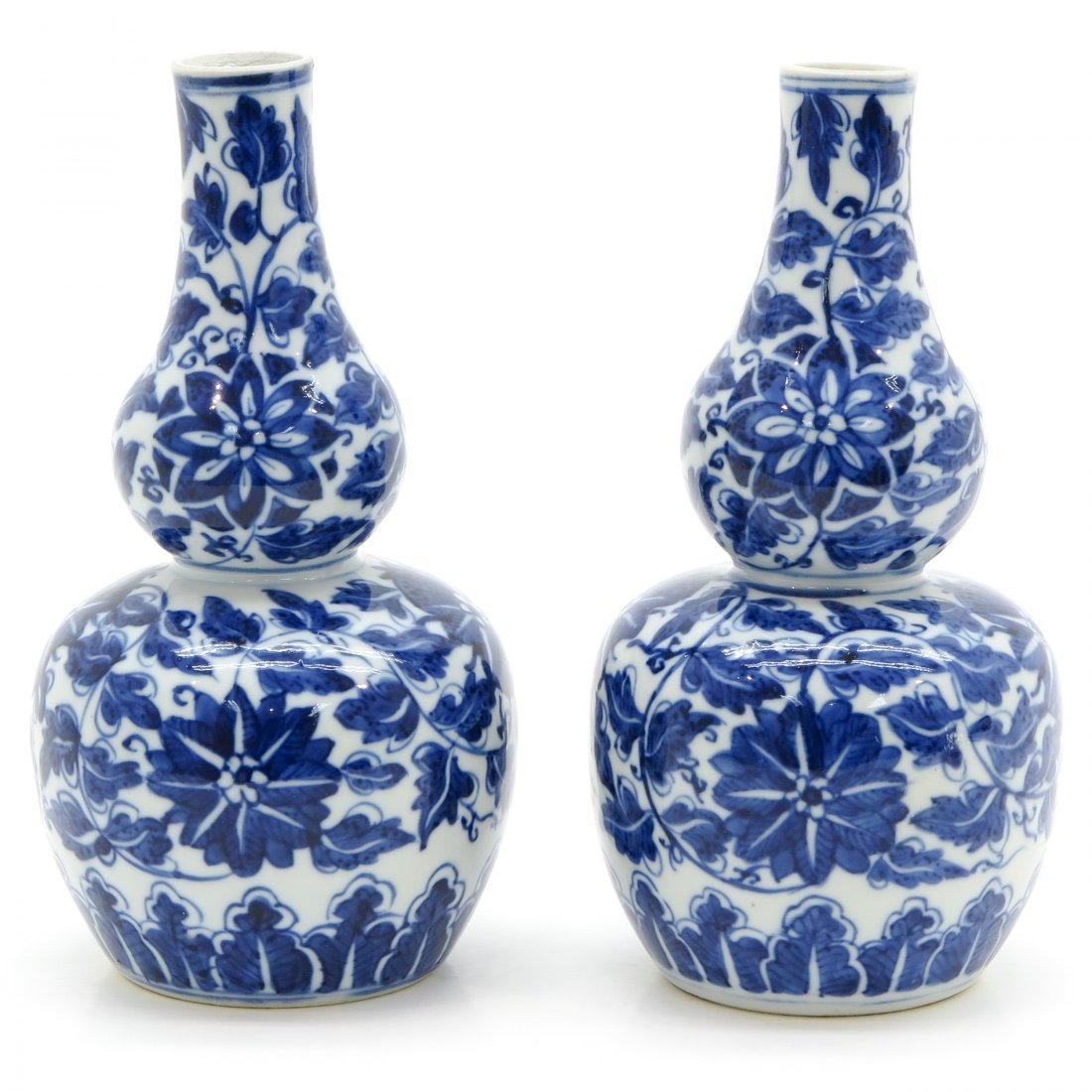 Pair of China Porcelain Double Gourd Vases