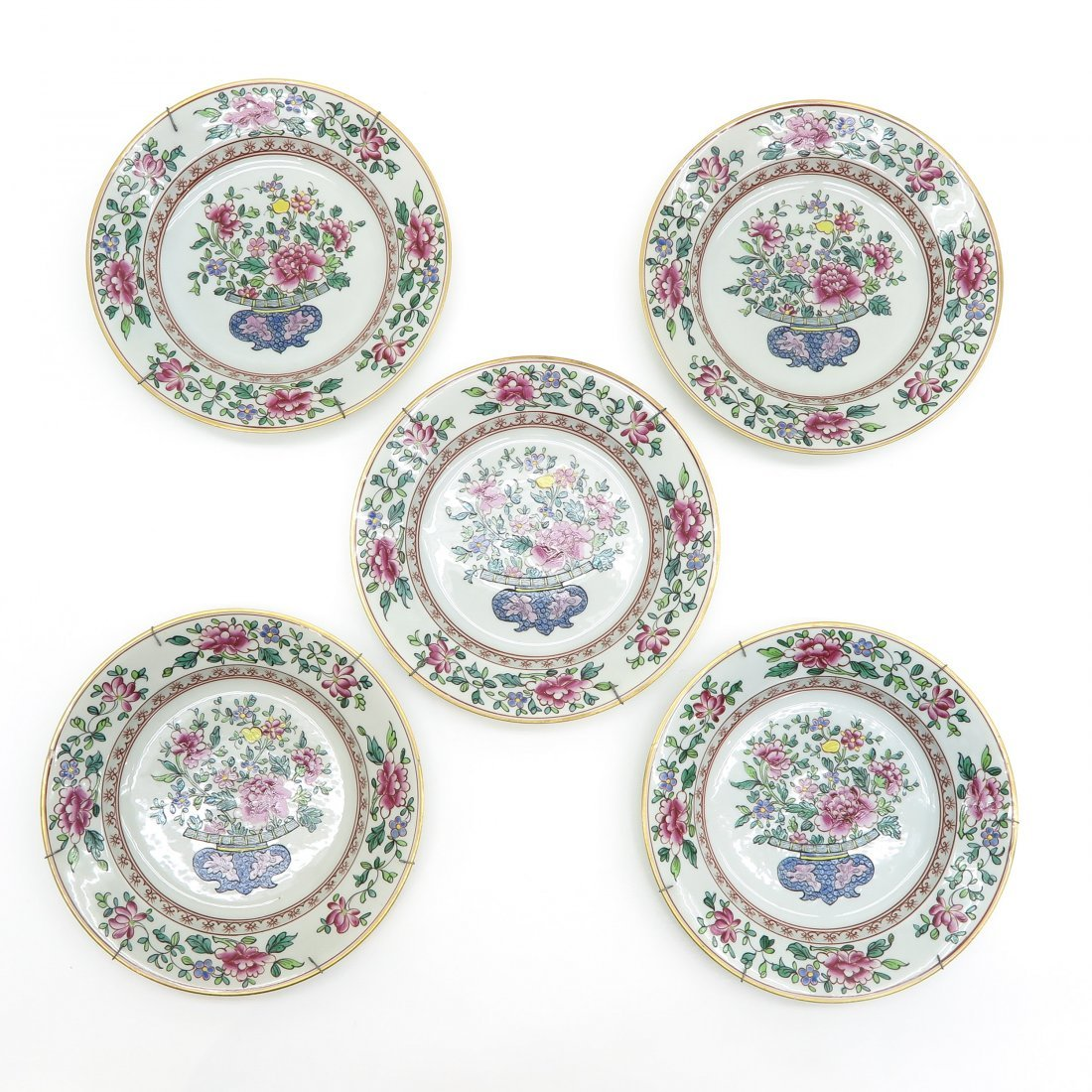 Lot of 5 18th Century Famille Rose Decor Plates