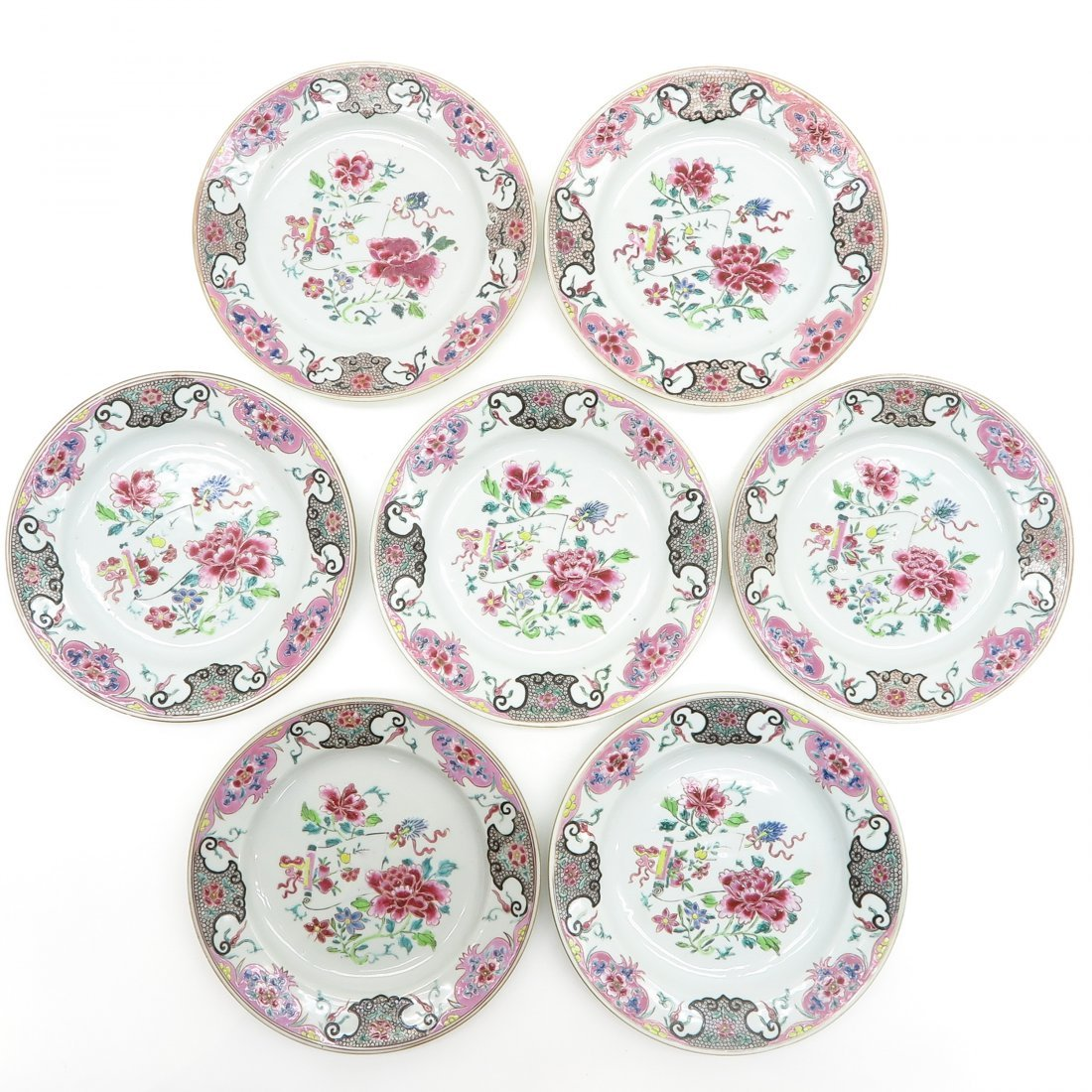 Lot of 18th Century China Porcelain Famille Rose Plates
