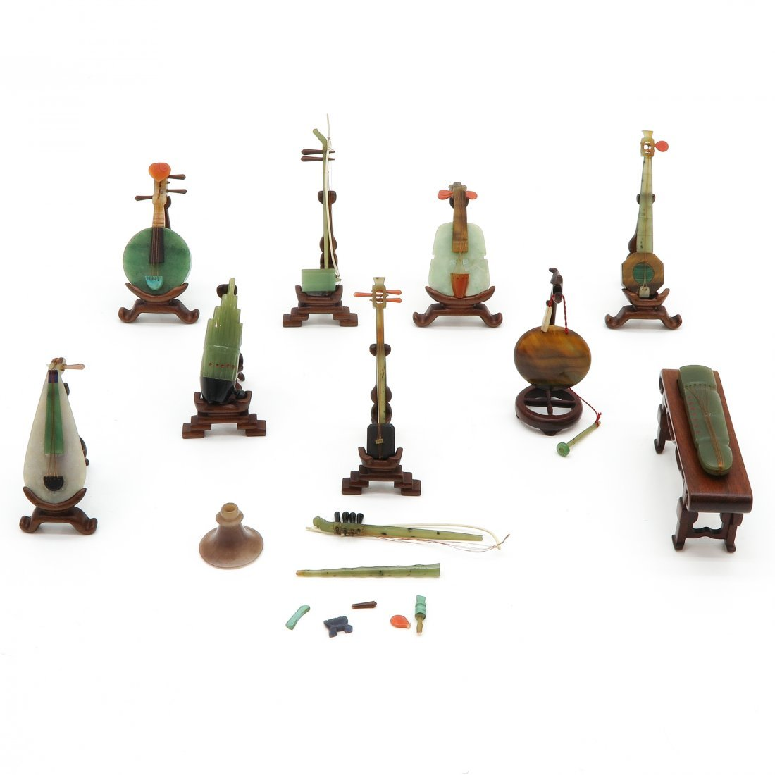 Chinese Carved Jade Musical Instrument Sculptures