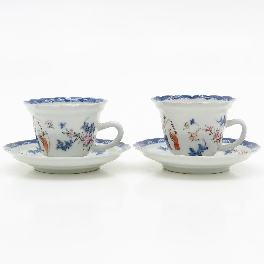 18th Century China Porcelain Cups and Saucers
