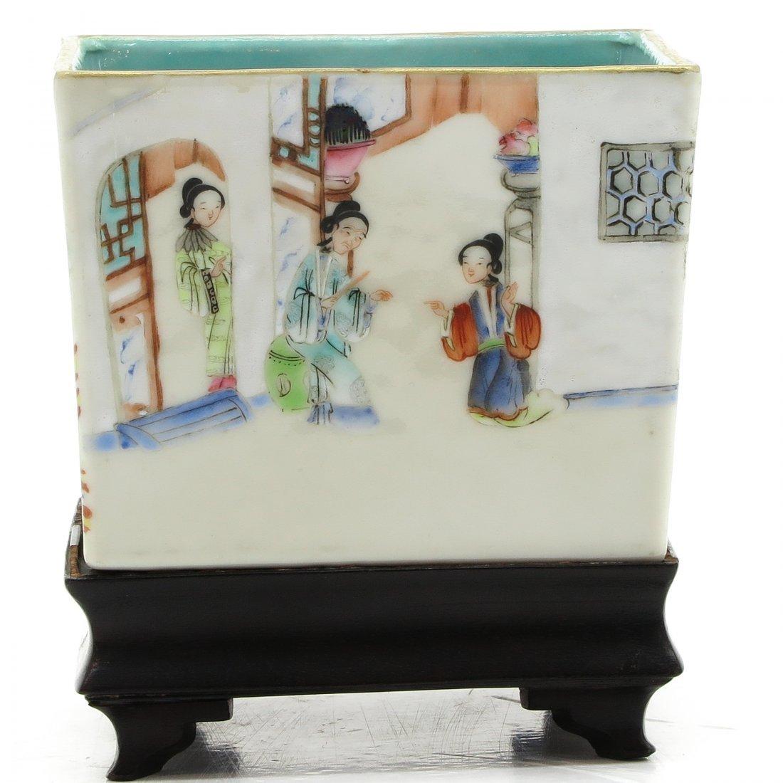 China Porcelain Vase on Wood Base