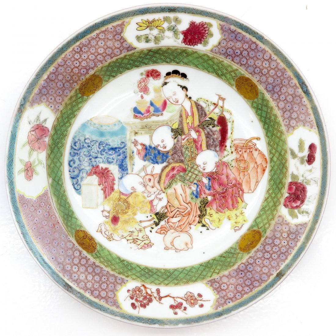18th/19th Century China Porcelain Plate with Ruby Back